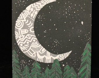 Moon and Tree Painting