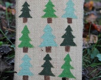 Burlap Pine Tree Painting