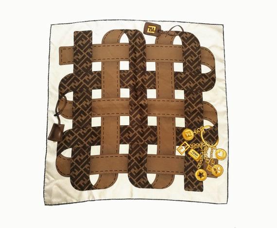 FENDI Vintage Pocket Square Authentic Silk Scarf S
