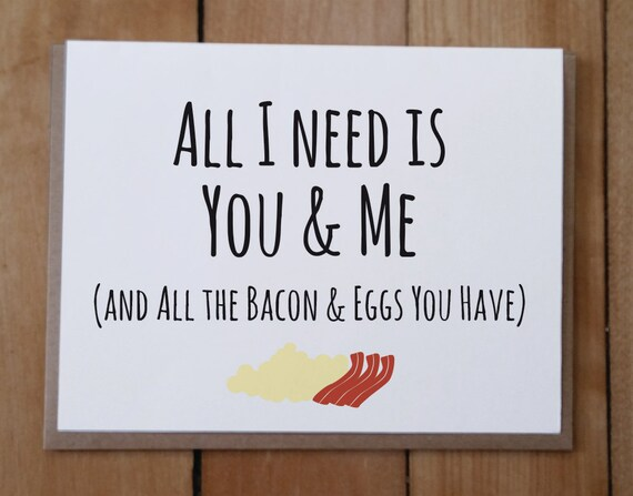 You And Me And Bacon And Eggs Valentine's Day Card Etsy Impressive Funny Quotes For Valentines Day Cards