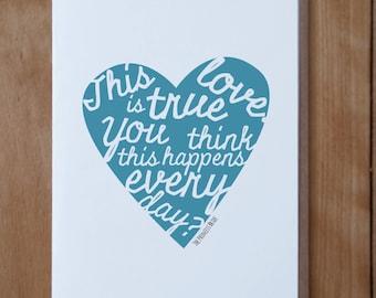 Princess Bride Inspired card, This is True Love card, Wedding Card, Valentines Card, Anniversary Card, Friendship card