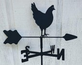 The Lazy Scroll Hen Chicken Roof Mounted Weathervane Black Wrought Iron Look