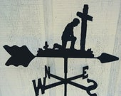 The Lazy Scroll Praying Man Roof Mounted Weathervane Black Wrought Iron Look