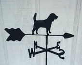 The Lazy Scroll Beagle Roof Mounted Weathervane Black Wrought Iron Look