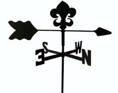 The Lazy Scroll Fleur De Lis Roof Mounted Metal Weathervane Black Wrought Iron Look