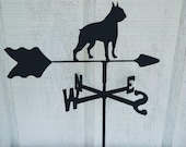 The Lazy Scroll Boston Terrier Roof Mounted Metal Weathervane Black Wrought Iron Look