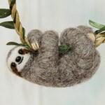 Sloth necklace, Cute sloth pendant, Sloth jewelry, Baby sloth gift, Miniature needle felted sloth charm, Felt jewelry, Felt sloth, Gray, MTO