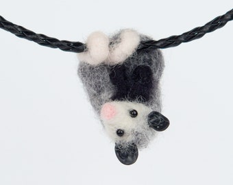 Possum necklace, Needle felted opossum jewelry, Possum pendant, Cute possum gift for her, Necklace animal, Felted possum, Cute opossum art