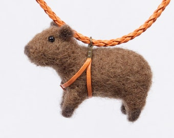 Capybara Necklace, Capy Jewelry, Capybaras gift, Carpincho necklace,  Needle felted Capybara art, Felted animals, Needle felted wool animals