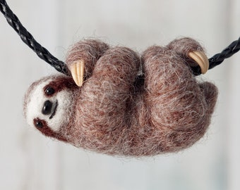 Sloth necklace, Three toed brown sloth pendant, Needle felted sloth jewelry, Baby sloth gift for her
