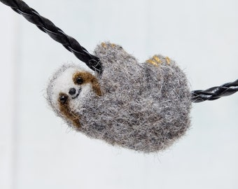 Sloth necklace, Needle felted sloth jewelry, Baby sloth art, Cute sloth pendant, Mini sloth, Sloth gift, Little sloth charm, Felt jewelry