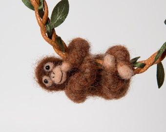 Orangutan pendant, Baby orangutan necklace, Baby monkey gift, Orangutan gift for monkey lover, Needle felted animals, Monkey jewelry
