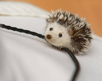 Hedgehog necklace, hedgehog pendant, Hedgie necklace, cute hedgehog jewelry, tiny hedgehog gift for her, animal necklace, felt hedgehog, MTO