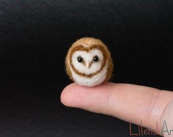 Needle felted barn owl, Barn owl miniature, Felted barn owl gift, Owl art, Owl lover gift, Cute owl decor, Kawaii owl, Needle felted animal