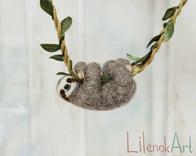 Sloth necklace Cute sloth pendant Sloth jewelry Baby sloth the cord with leaves