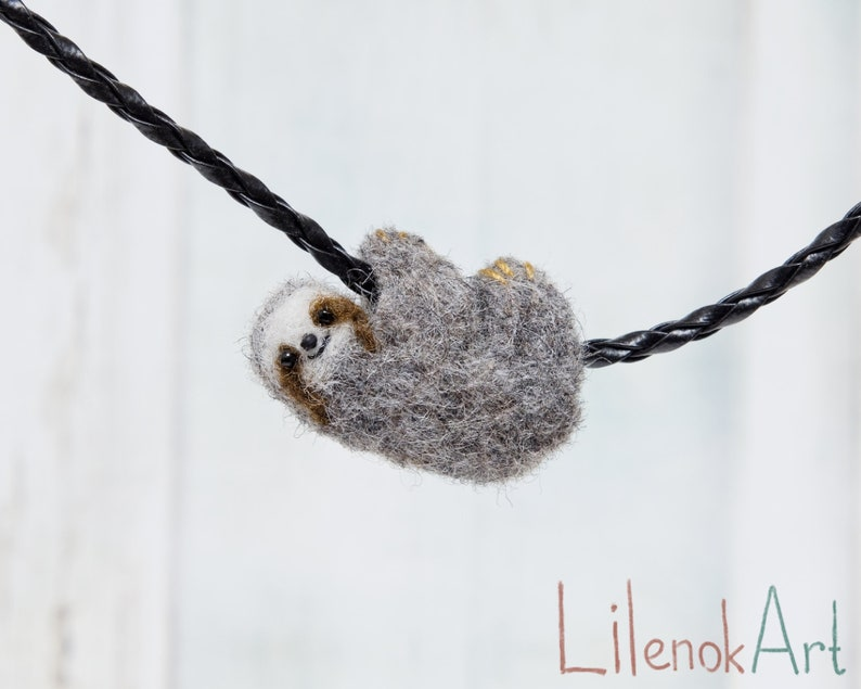 Sloth necklace Needle felted sloth jewelry Baby sloth art Gray