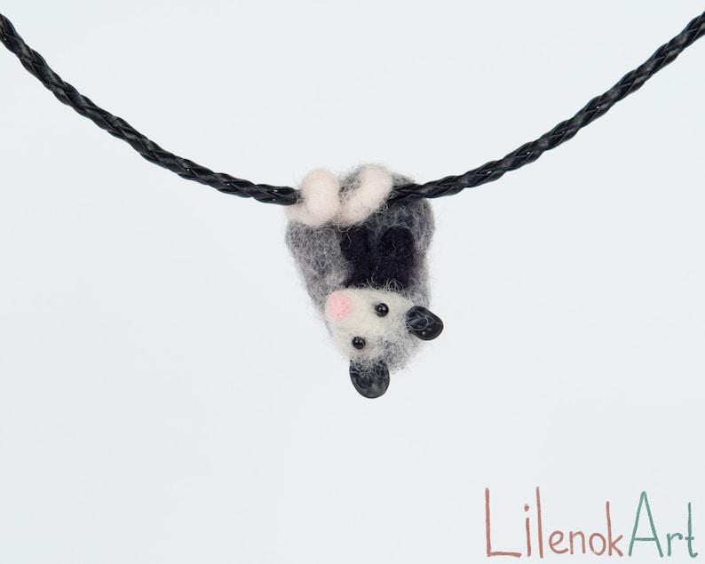 Possum necklace Needle felted opossum jewelry possum image 0