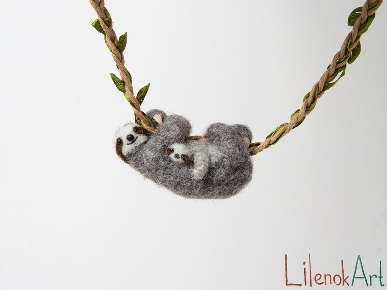 Sloth with a baby necklace pendant Mothers day gift Gift for image 0