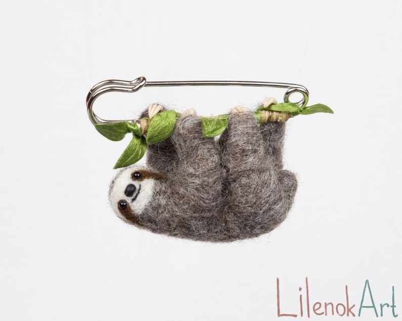 "Sloth brooch Felt brooch Felt sloth pin Hanging Sloth Cute ""Premium"" Gray"