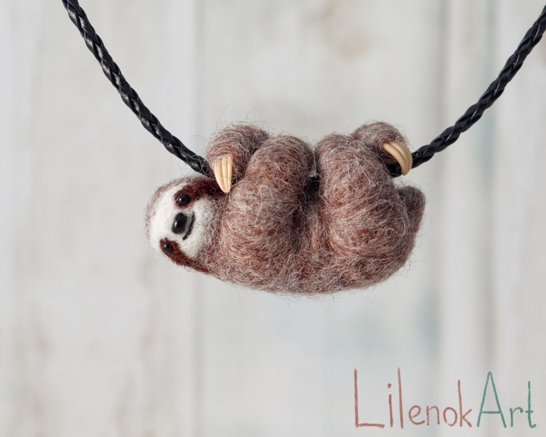 Sloth necklace Three toed brown sloth pendant Needle felted image 0