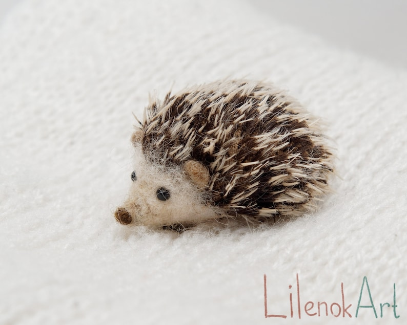 Hedgehog pin Felt Hedgehog jewelry felted hedgehog brooch image 0
