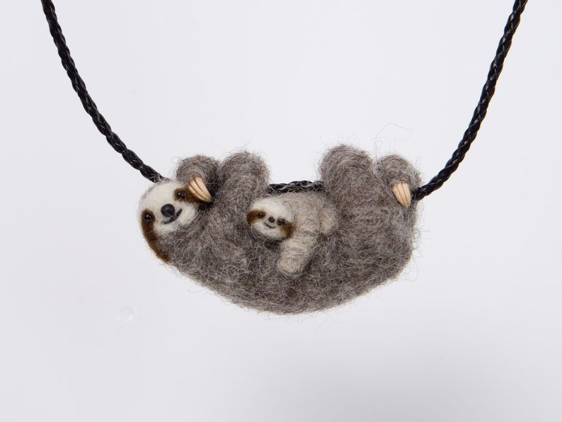 Mommy sloth with a baby  special necklace image 0