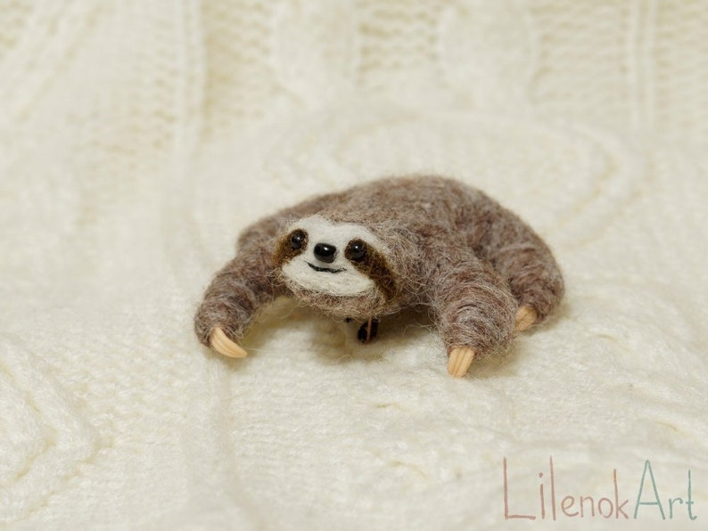 Sloth pin Cute sloth jewelry Felted sloth brooch Lazy image 0