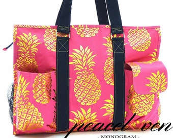7c48d7cfed64 Monogrammed Gold Metallic Pineapple Print Medium Size Utility Tote GNPL733  CO(Navy Trim)