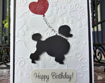 Personalized Dog Card, Birthday Balloon, Choose the Breed, Paw Prints, Pet Card, Animal Lover, Fancy Pup, Bling Card, Die Cut, Poodle Card