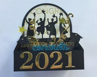 Graduation Pop Up Card, 3D Explosion Box card, Class of 2021, Graduate Congrats, Personalize It, Cap & Gown, Die Cut Layered