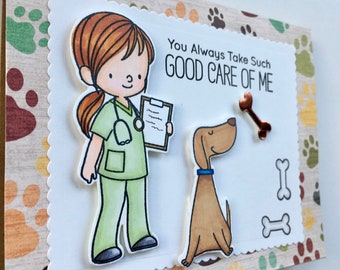 Thank You card to Veterinarian, To Doctor Nurse Staff, Happy Dog, Healing Greeting, Hero,Animal Pet Appreciation, Cat Kitty,Stamped Die Cuts