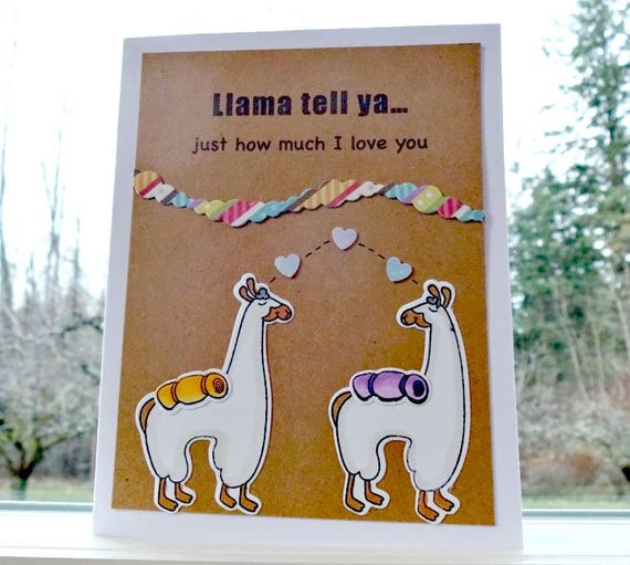 Image of: Valentine Cards Image Etsy Llama Card Pun Love Card Funny Valentine Birthday Etsy