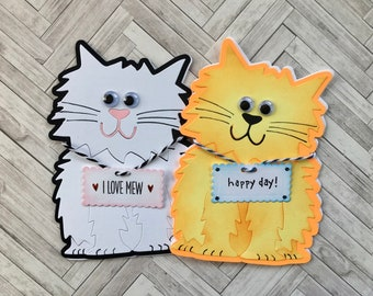 All Occasion Cat card, Birthday greeting, Cute Mothers Day,Thankful for You,Just Fur You, I Love Mew, Personalized, White Cat, Orange  Color