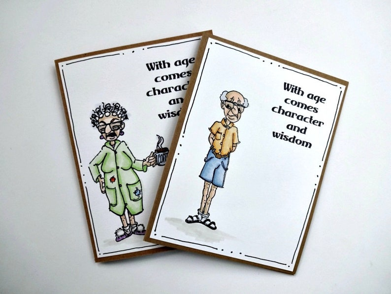 Grappig Alle Gelegenheid Card Oude Dame Groet Oude Man Etsy