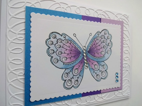 Fancy Butterfly Card Blank All Occasion For Women