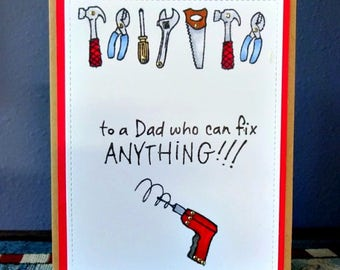 Masculine Card, Tool Man, Dad Birthday, Card For Grandpa, DIY Fix It, From The Kids, Happy Fathers Day, Handyman Greeting, Hammer Saw Drill