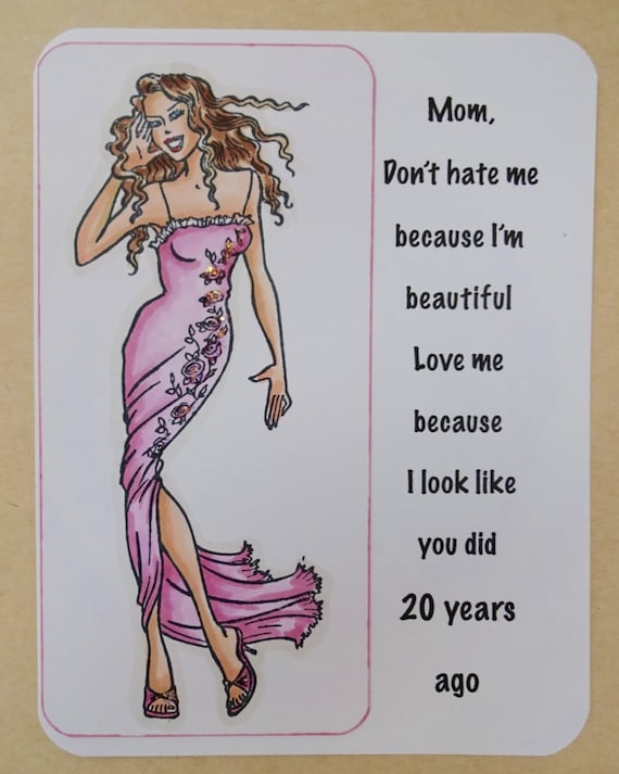 Funny Birthday Card Mom Mother Daughter Humor Love You Mum