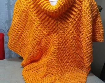 Women Crochet cowl neck poncho