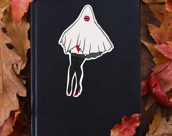 Vampire Ghost Pin Up Sticker, Ghost Sticker, Halloween Sticker, Vinyl Sticker, Die-cut Sticker