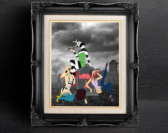Beetlejuice Inspired Pin Up Matte Photographic Print, Beetlejuice Print, Halloween Print, Print
