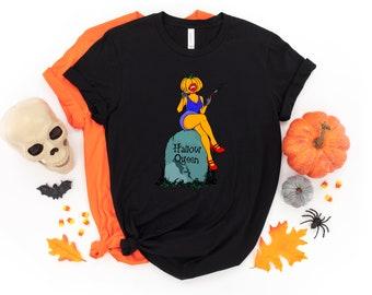 Hallow Queen Pin Up T-shirt, Halloween, Pumpkin Pin Up, Pumpkin T-shirt, Tshirt, Apparel