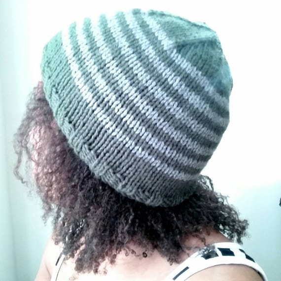 5da5238cc28 Green and Gray Stripe beanie Knit Hat Skull cap stripe Hat