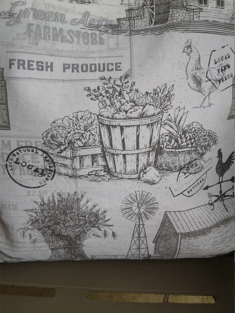 Purse Off WhiteGray Tote Bag Shoulder Bag Tote Farm Images Tote Bag Bags and Purses Canvas Bag Shabby Chic Tote 17w x 16h x 3d Bag