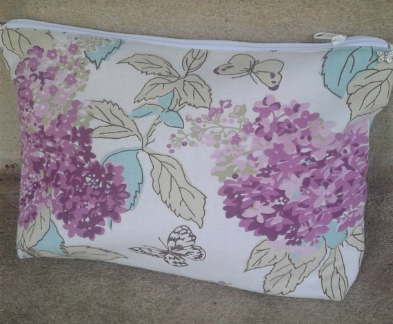 hydrangea zipped pouches