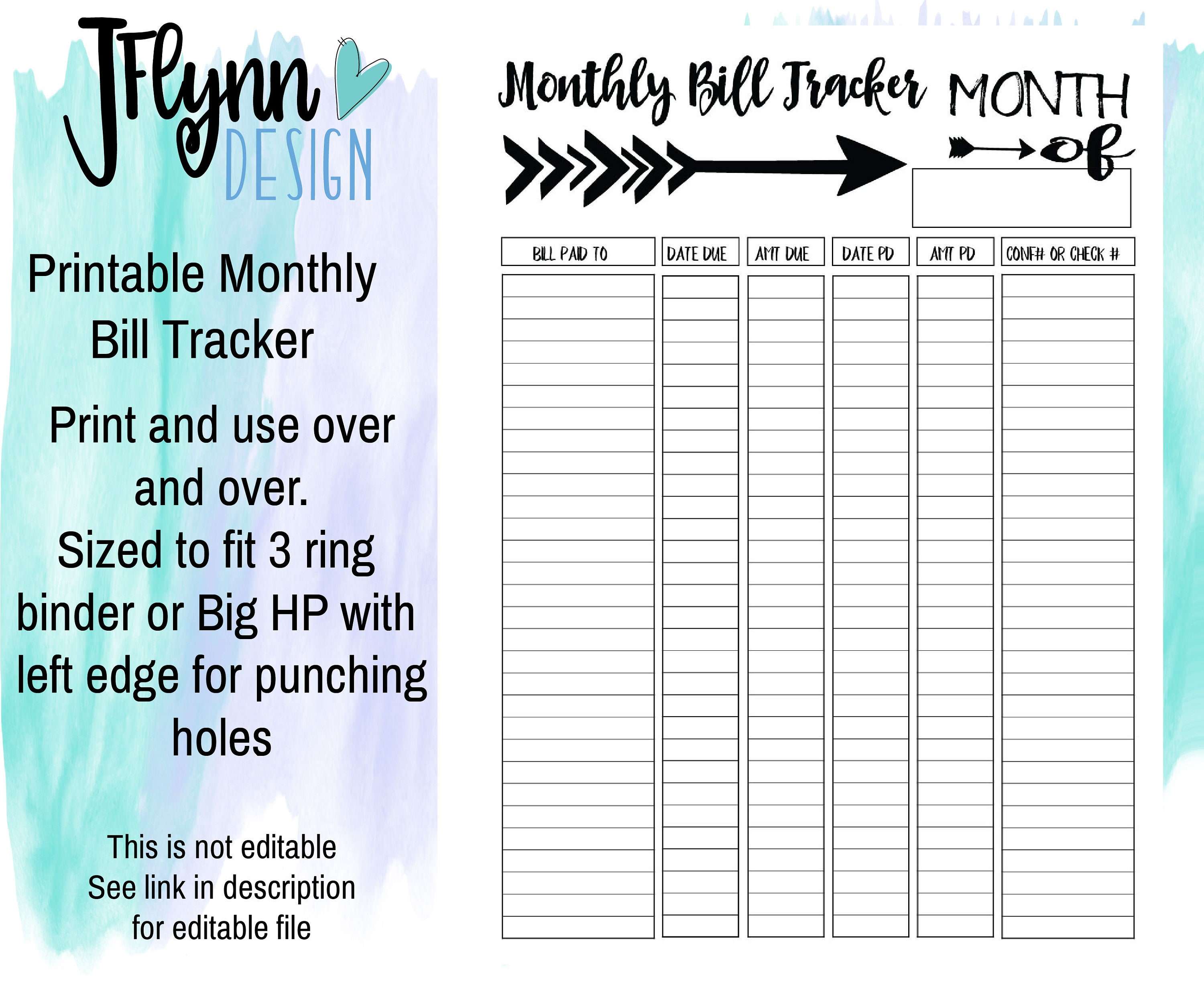 image relating to Monthly Bill Tracker Printable identify Every month Invoice Tracker PDF Printable, fast down load, electronic down load, printable, expenses