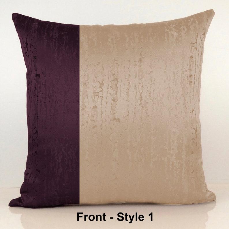 Purple Plum And Beige Sand Color Block Decorative Throw Etsy