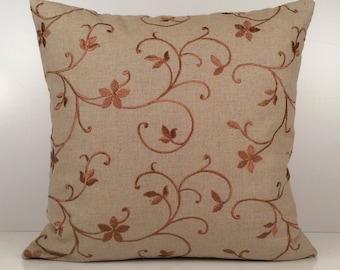 Tan Pillow, Throw Pillow Cover, Decorative Pillow Cover, Cushion Cover, Accent Pillow, 100% Linen Pillow, Rust Silk Embroidery, Home Decor
