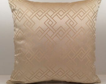 Light Tan (beige) Pillow, Throw Pillow Cover, Decorative Pillow Cover, Cushion Cover, Accent Pillow, Satin Blend, Geometric pattern, modern.
