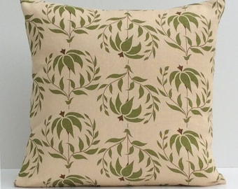Beige Pillow, Throw Pillow Cover, Decorative Pillow Cover, Cushion Cover, Pillowcase, Accent Pillow, Toss Pillow, Linen, Green Floral Pillow