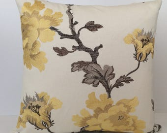 Off White and Bright Yellow Pillow, Throw Pillow Cover, Decorative Pillow Cover, Cushion Cover, Accent Pillow, Yellow Silk Embroidery,Cotton